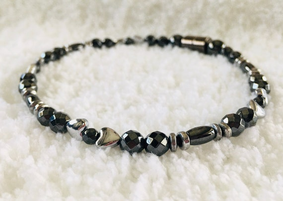 Faceted Silver Heart High Power Magnetic Hematite Therapy Anklet, Bracelet, Necklace