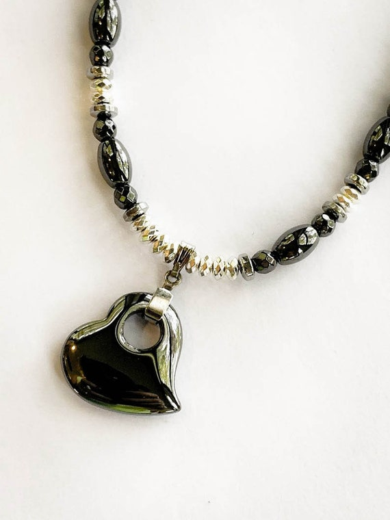 Hematite Heart Necklace, Strong Magnetic Hematite Therapy Necklace