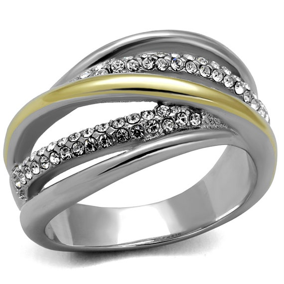 Stainless Steel Ring Two-Tone IP Gold (Ion Plating) Women Top Grade Crystal Clear