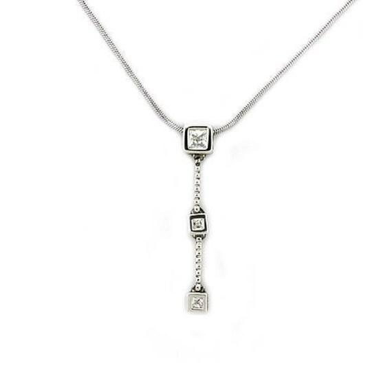 925 Sterling Silver Chain Pendant Rhodium Women AAA Grade CZ Clear