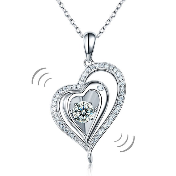 Dancing Stone Heart Pendant Necklace 925 Sterling Silver