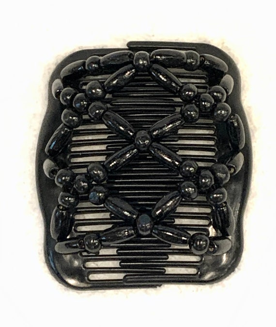Beaded Double Hair Comb Solid Black, Elastic Hair Clip, Strong Hold Hair Accessory