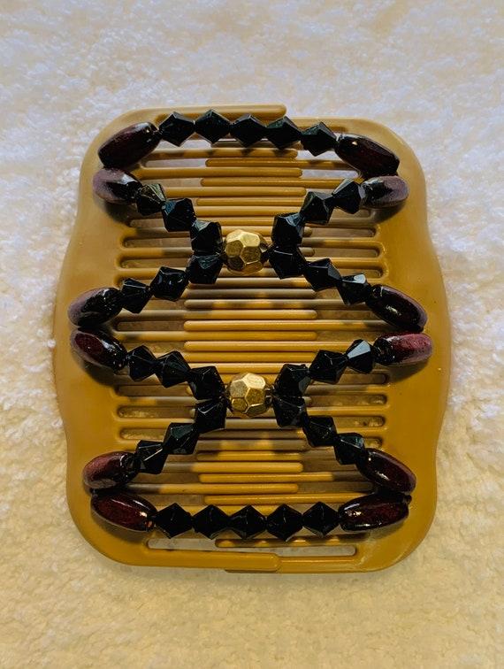 Beaded Double Hair Comb Tan & Black, Elastic Hair Clip, Strong Hold Hair Accessory