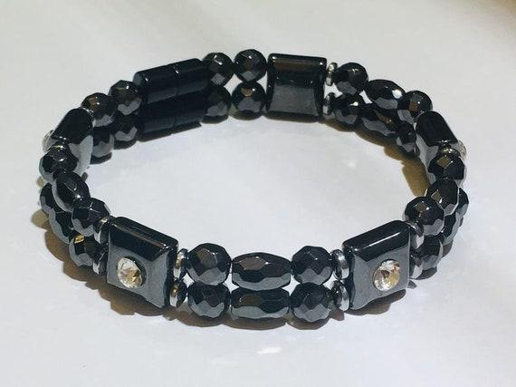 HP Black Magnetic Bracelet crystal spacers Strong High Power Magnetic