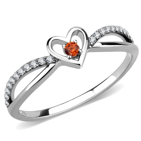 Stainless Steel Ring High polished (no plating) Women AAA Grade CZ Orange
