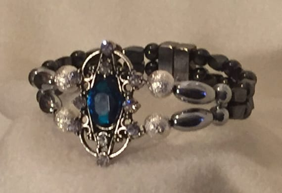 High Power Magnetic Hematite Therapy Bracelet Blue and Silver Pendant