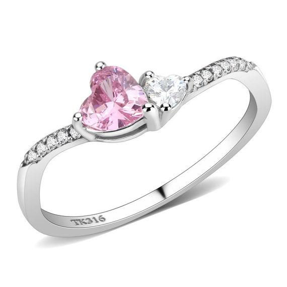 Stainless Steel Ring High polished (no plating) Women AAA Grade CZ Rose