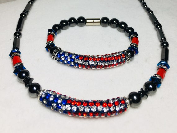 Patriotic Necklace Red, White and Blue American Flag Magnetic Hematite Necklace and Bracelet Set High Power Magnetic