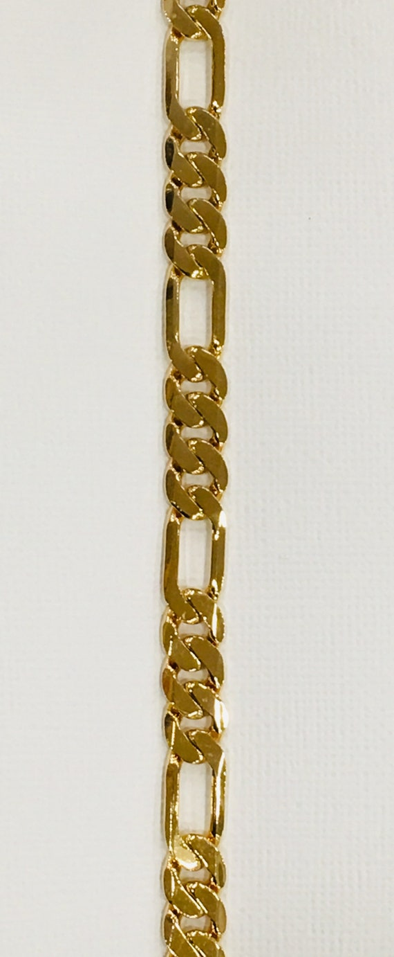 Lifetime Guarantee: 9MMDC Figaro 18k Gold Layered Chain