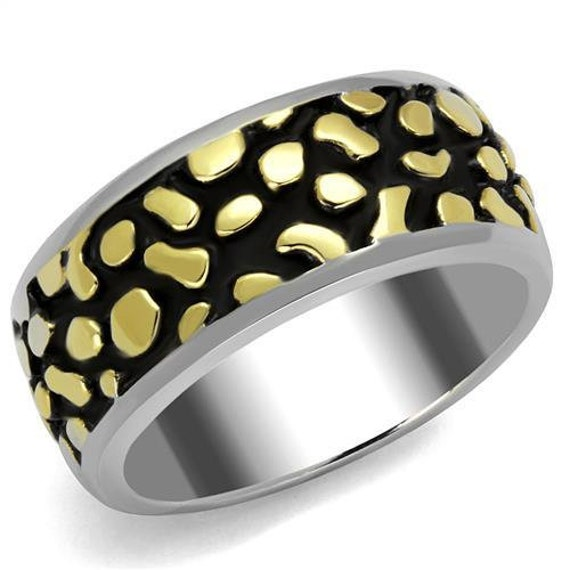 CLEARANCE Stainless Steel Ring Two-Tone IP Gold (Ion Plating) Men Epoxy Jet