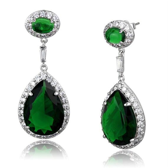Brass Earrings Rhodium Women Synthetic Emerald