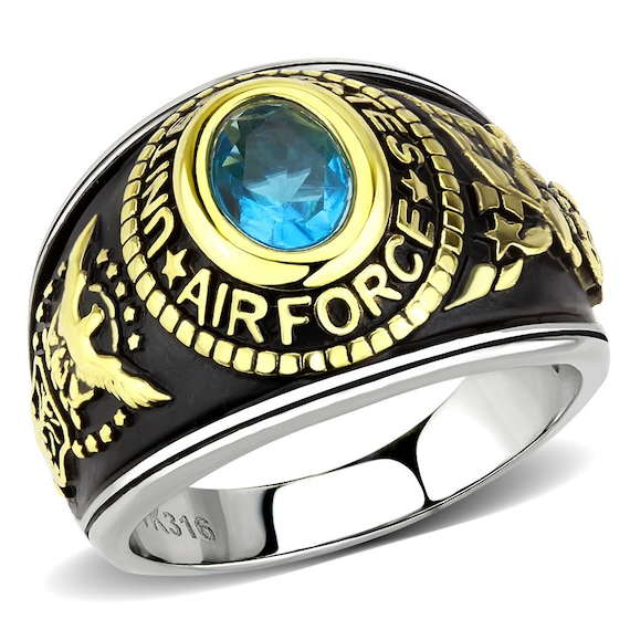 Air Force Stainless Steel Ring Two-Tone IP Gold (Ion Plating) Unisex Synthetic Montana