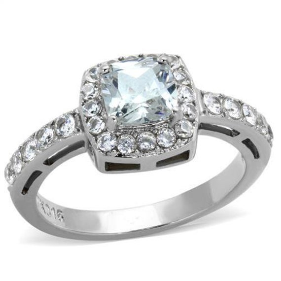 Stainless Steel Ring High-Polished Women AAA Grade CZ Clear