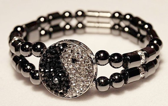 Ying and Yang, Magnetic Hematite Therapy Bracelet, High Power Magnetic