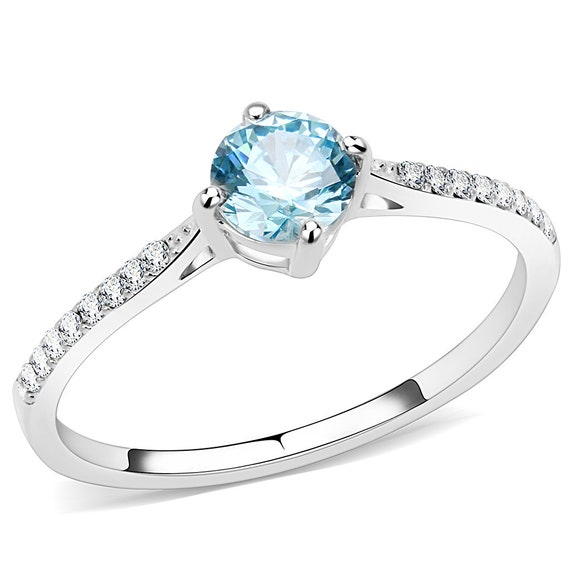 Stainless Steel Ring High polished (no plating) Women AAA Grade CZ Sea Blue