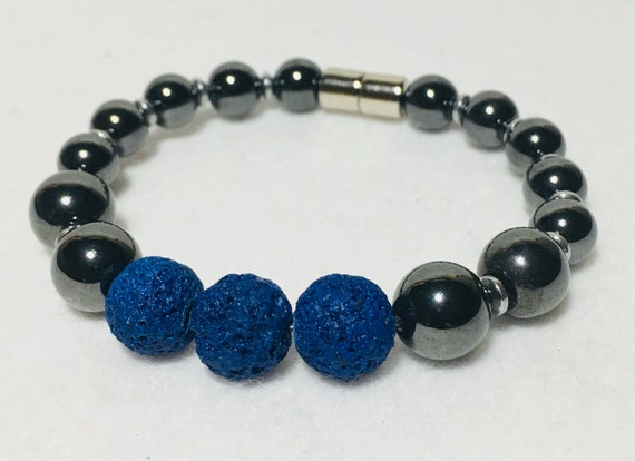 Royal Blue Essential Oil Lava Bracelet and Magnetic Hematite Therapy 2 in 1