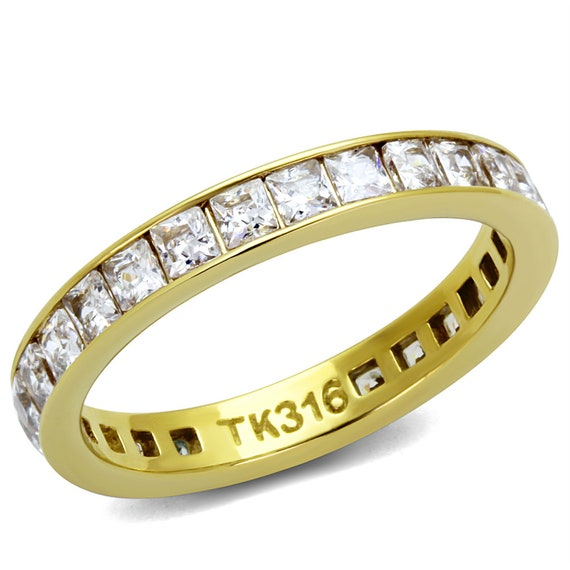 Stainless Steel Ring IP Gold(Ion Plating) Women AAA Grade CZ Clear