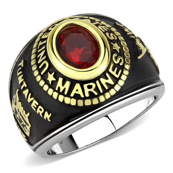 Marines Stainless Steel Ring Two-Tone IP Gold (Ion Plating) Unisex Synthetic Montana