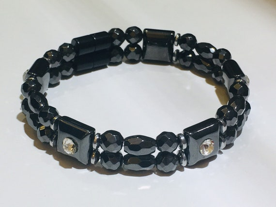 Magnetic Hematite Therapy Bracelet, Black Magnetic Bracelet w/crystal spacers Strong High Power Magnetic
