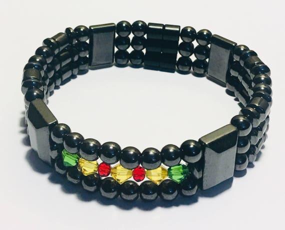 Vietnam War Ribbon Colors, Magnetic Hematite Therapy Bracelet, Unisex Magnetic Bracelet, High Power
