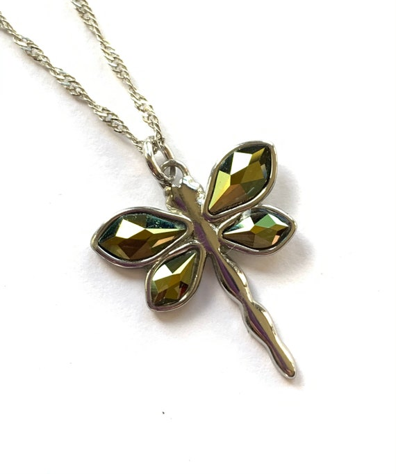 Swarvoski Dragonfly Pendant Necklace on 18 inch .925 Sterling Silver Chain