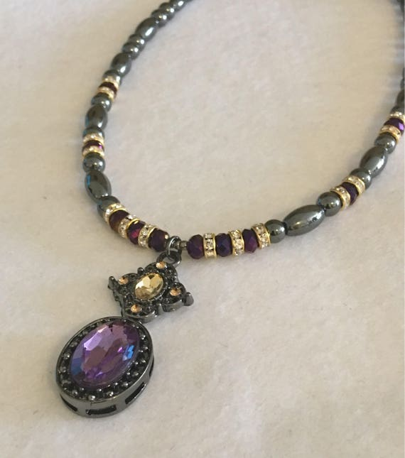 Purple and Gold Pendant Magnetic Hematite Necklace