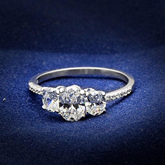 925 Sterling Silver Ring Rhodium Women AAA Grade CZ Clear