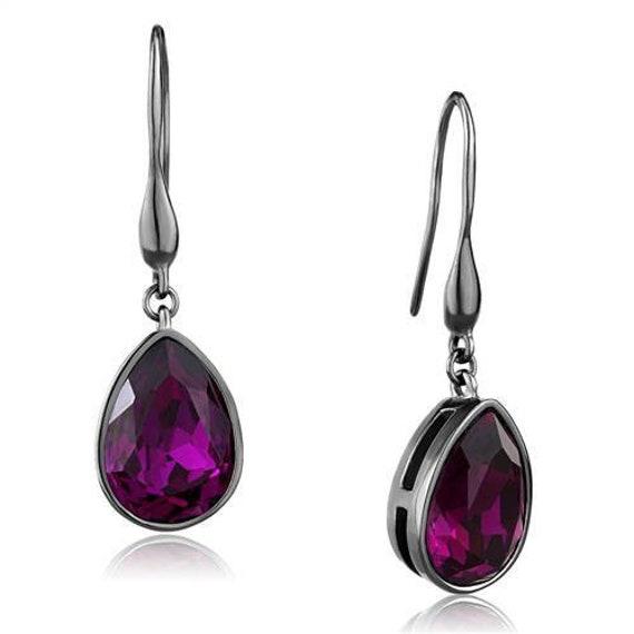 Stainless Steel Earrings IP Light Black (IP Gun) Women Top Grade Crystal Fuchsia