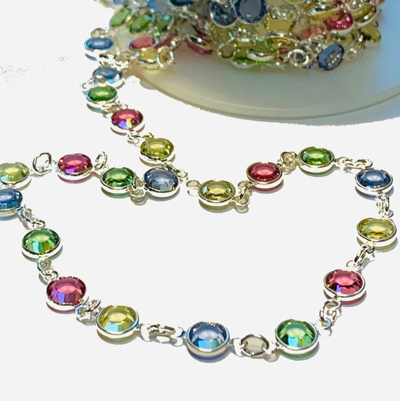 5MM Multi Austrian Crystal Sterling Silver or 18k Gold filled Chain Lobster Claw Clasp Lifetime Warranty