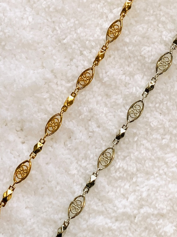 5MM Filigree Sterling Silver or 18k Gold Layered Chain with Lifetime Warranty