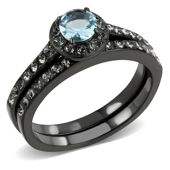 Stainless Steel Ring IP Black(Ion Plating) Women Synthetic Sea Blue