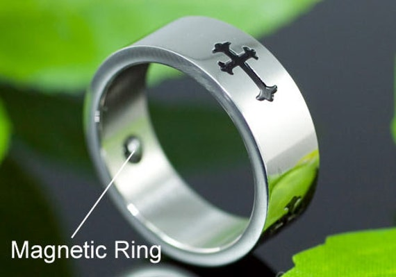 Religion Gothic Cross Magnetic Therapy Stainless Steel Mens Ring