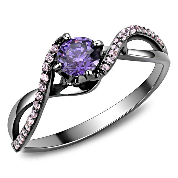 925 Sterling Silver Ring Ruthenium Women AAA Grade CZ Amethyst