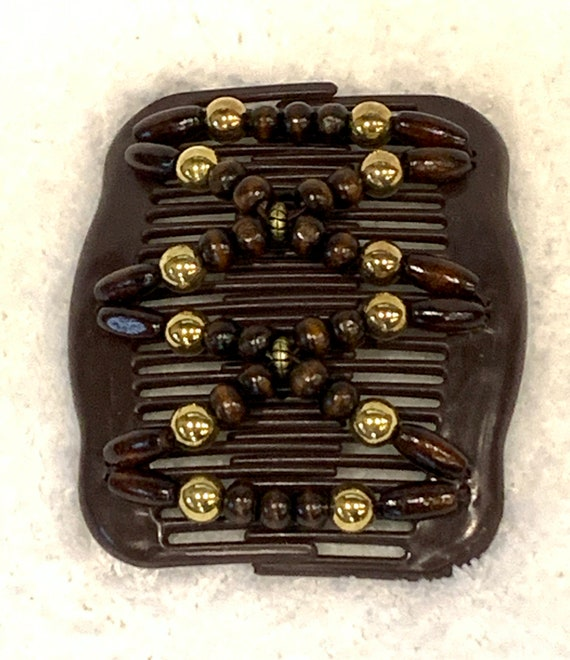 Beaded Double Hair Comb Gold Accents, Elastic Hair Clip, Strong Hold Hair Accessory