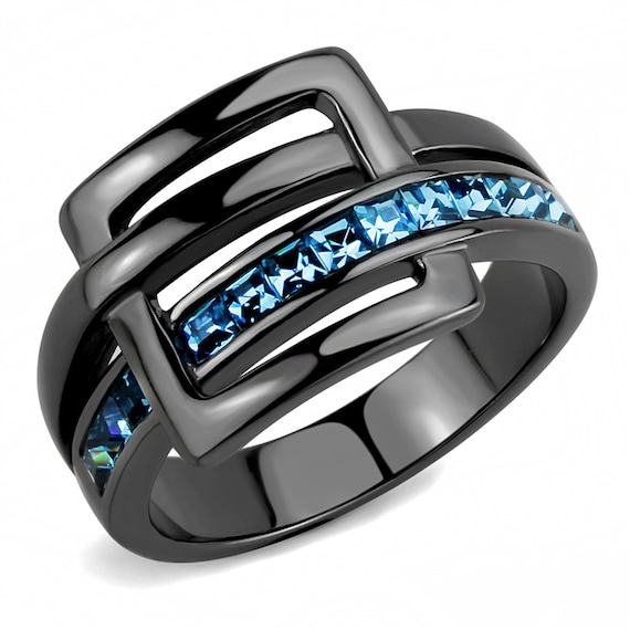 Stainless Steel Ring IP Light Black (IP Gun) Women Top Grade Crystal Sea Blue