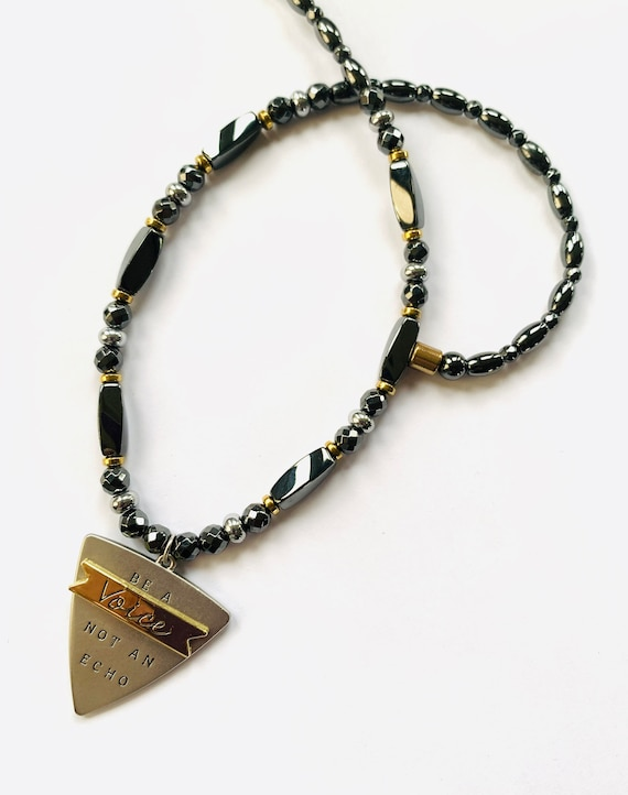 Strong High Power Magnetic Hematite Therapy Necklace, Be a Voice Not an Echo