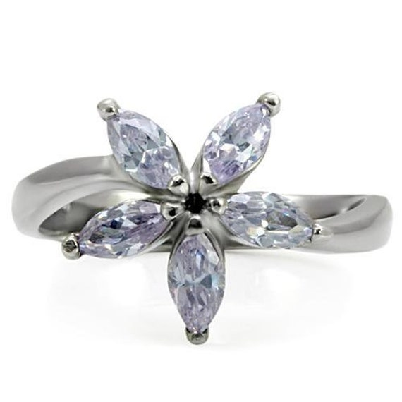 CLEARANCE Stainless Steel Ring High polished (no plating) Women AAA Grade CZ Light Amethyst