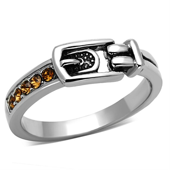 Stainless Steel Ring High polished (no plating) Women Top Grade Crystal Smoked Quartz