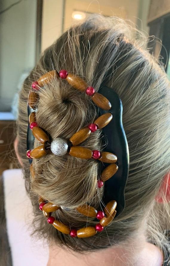 Beaded Double Hair Comb Burgandy & White, Elastic Hair Clip, Strong Hold Hair Accessory