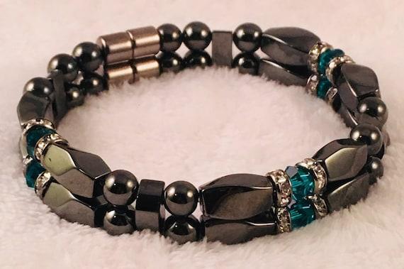 Strong High Power Magnetic Hematite Bracelet, December Swarovski Crystal Blue Zircon Birthstone Bracelet
