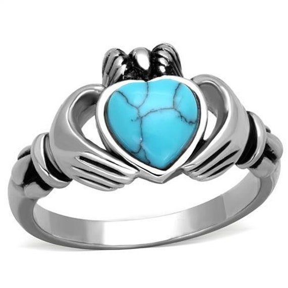 Stainless Steel Ring High polished (no plating) Women Synthetic Sea Blue