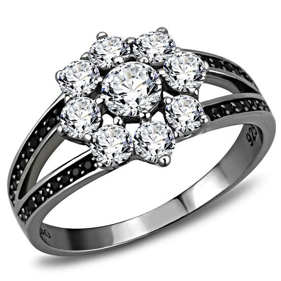 925 Sterling Silver Ring Ruthenium Women AAA Grade CZ Clear