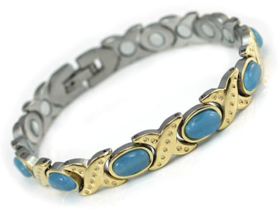Women Stainless Steel Magnetic Health Blue Cat Eye Stone Bracelet