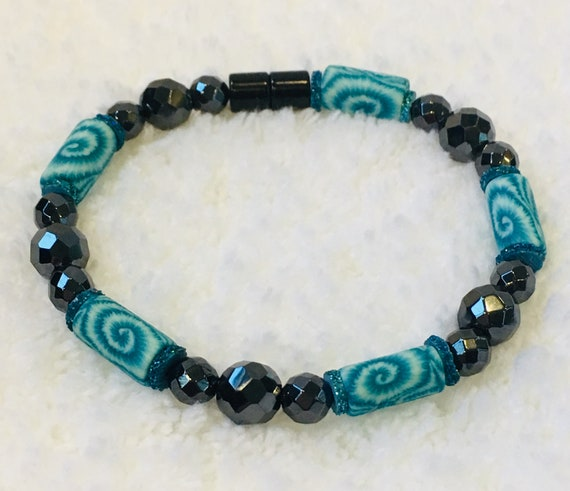 Turquiose Strong Magnetic Hematite Therapy Bracelet or Anklet