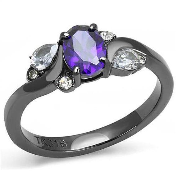 Stainless steel ring IP right black women AAA Grade CZ Tanzanite