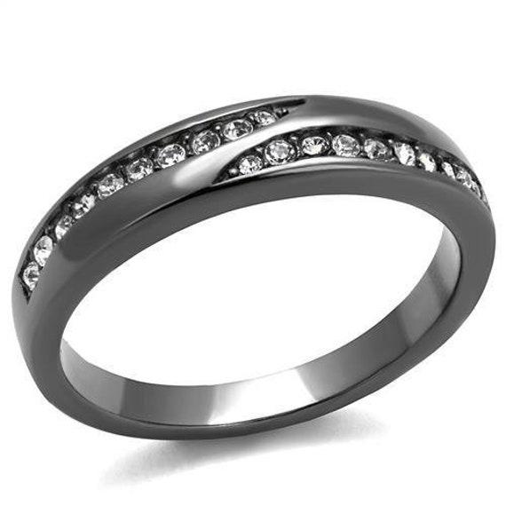 Stainless Steel Ring IP Light Black (IP Gun) Women Top Grade Crystal Clear