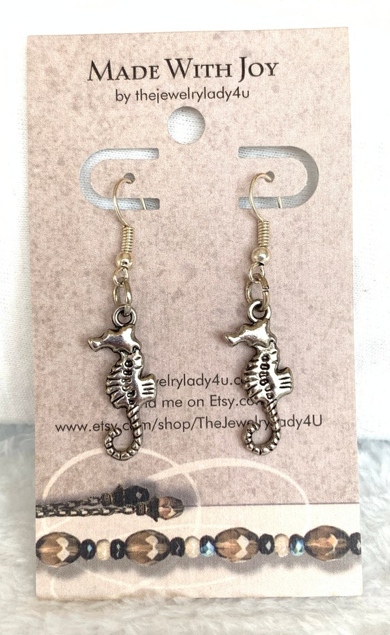 Clearance Silver Seahorse Dangle Earrings Hypoallergenic