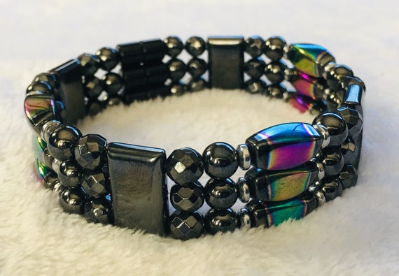 Rainbow High Power Magnetic Hematite Bracelet, Triple Stand Bracelet, Three Strand Magnetic Bracelet