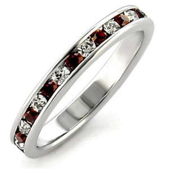 925 Sterling Silver Ring High-Polished Women Top Grade Crystal Garnet