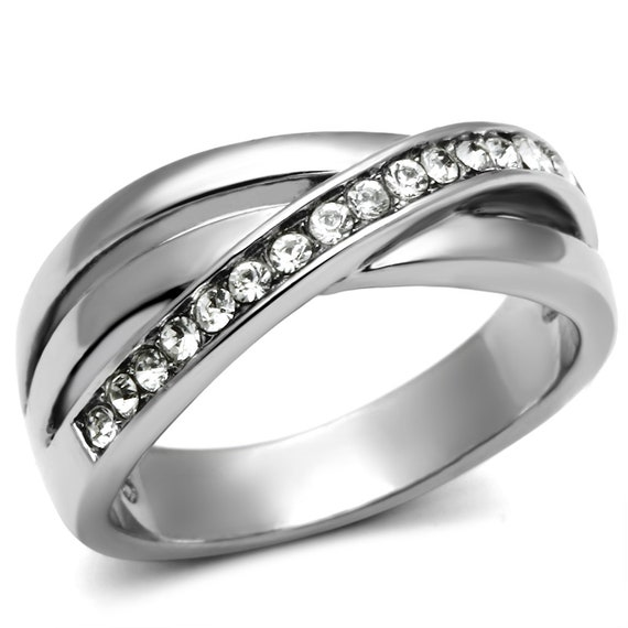 Stainless Steel Ring High polished (no plating) Women Top Grade Crystal Clear